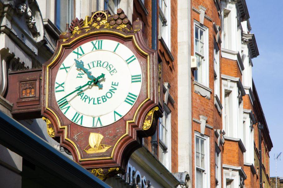 Kello Marylebone High Streetillä ©Milla Kontkanen