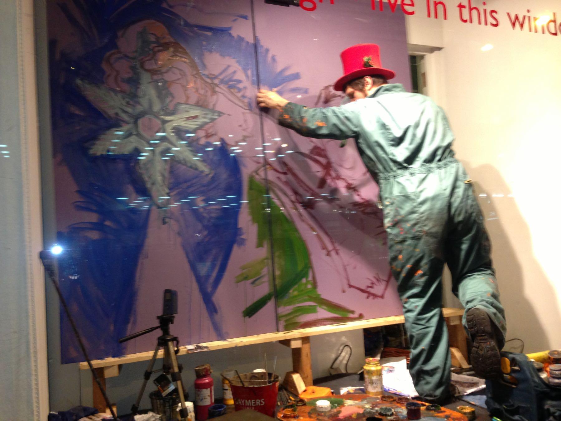 Edinburghilainen taiteilija Chris Rutterford koristi kolme John Lewis -tavaratalon jouluikkunaa 2012. Kuva: ©Eeva Simola / Tripsteri