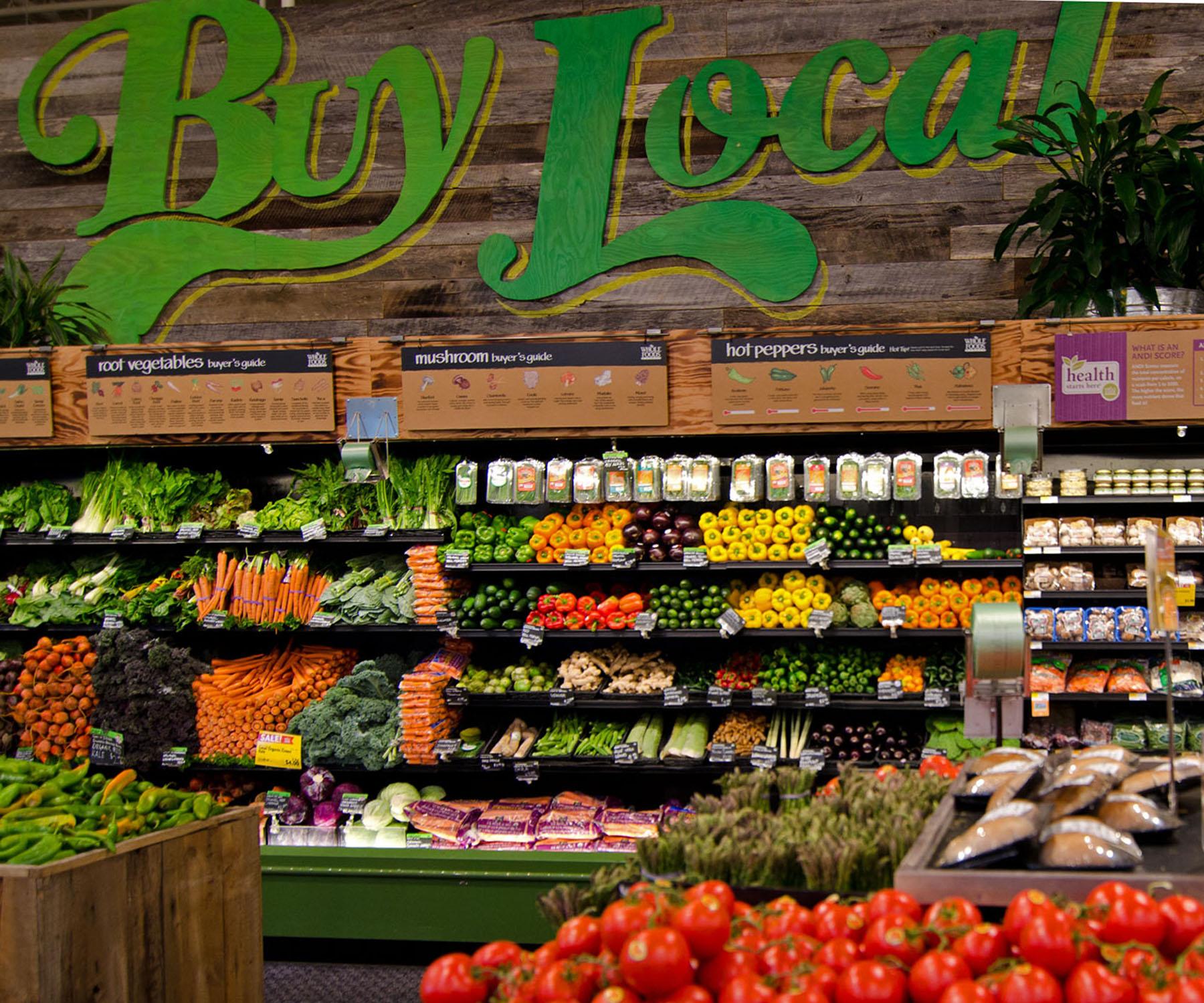 Whole Foods Marketit myyvät rutkasti lähiruokaa. Kuva: Whole Foods Market®