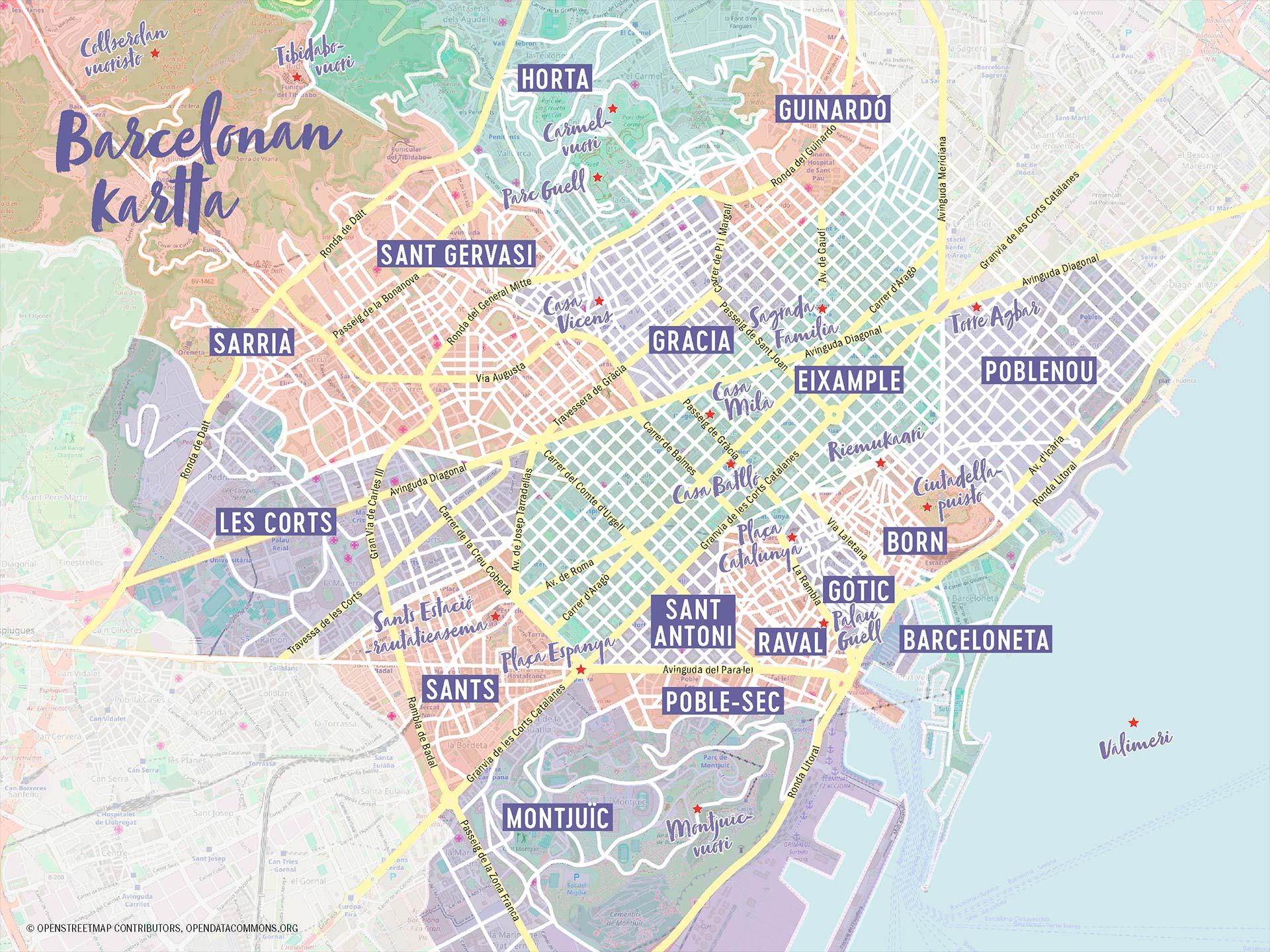 Barcelonan kaupunginosat. Kuvitus © Erica Löfman. Kartta © OpenStreetMap contributors, opendatacommons.org