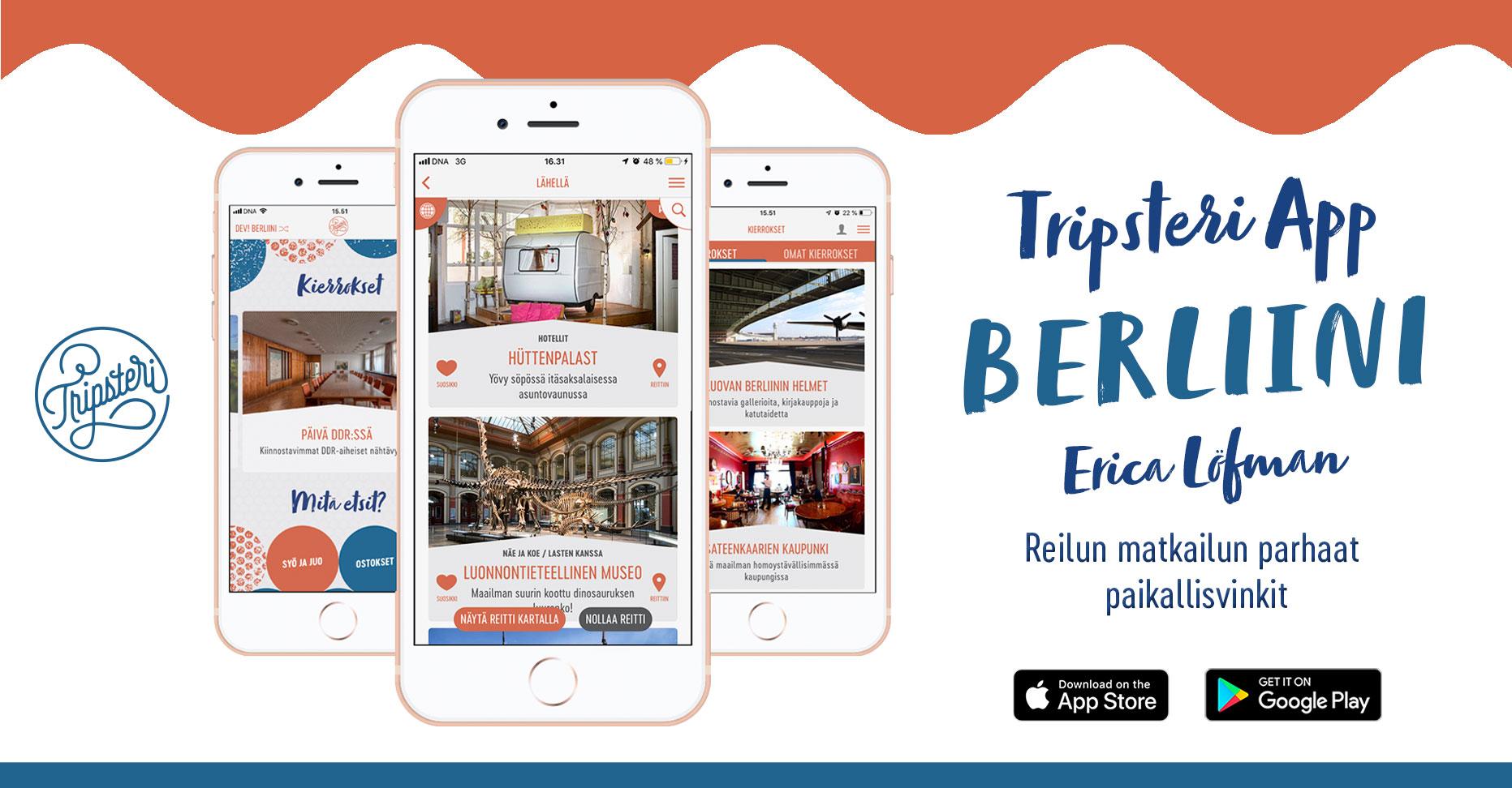 Tripsteri App -Berliini banneri